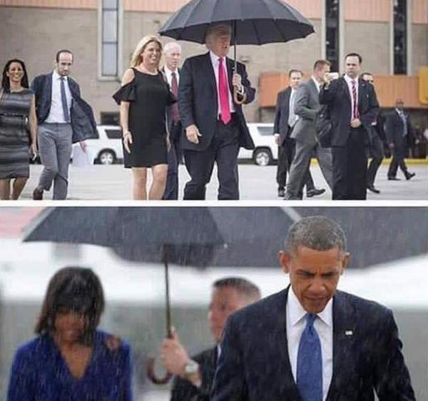 su-khac-biet-giua-obama-va-trump-khi-di-cung-phu-nu-duoi-mua