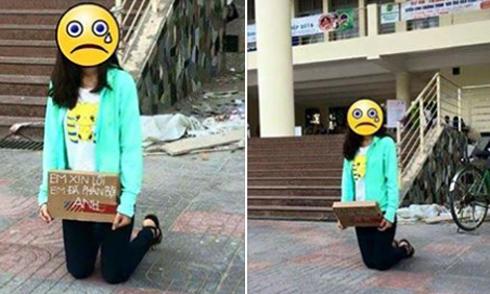 Nữ sinh Học viện Nông nghiệp quỳ gối xin lỗi bạn trai giữa sân trường