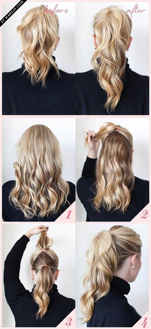 Tóc buộc đuôi ngựa hai tầng giúp cho mái tóc trông dày dặn hơn.