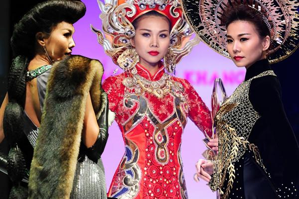Được mệnh danh là Nữ hoàng vedette của làng thời trang Việt, Thanh Hằng luôn được chăm chút cho tạo hình và trang phục mỗi khi xuất hiện trong vị trí hot nhất màn trình diễn.
