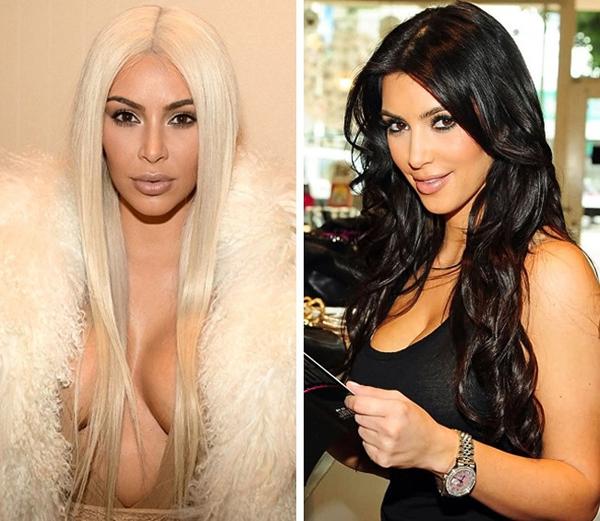 Màu tóc đen hợp với nước da ngăm của Kim Kardashian hơn cả.