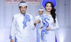 Phan Thị Mơ sánh vai 'chú rể' Thanh Thức trong áo dài cưới sắc xanh