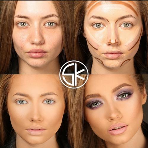 Với các cô gái phương Tây, kỹ thuật tạo khối được đặc biệt chú trọng bởi nó giúp định hình lại khuôn mặt.