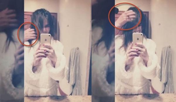 Nữ hoàng nội y khoe video được bạn trai sấy tóc trong phòng tắm.