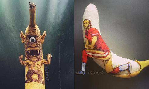 Nghệ sĩ biến vỏ chuối thành tranh nghệ thuật