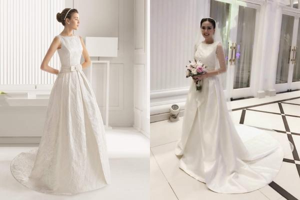 [Caption]diện chiếc váy cưới màu trắng kem đính nơ ngang eo của thương hiệu Rosa Clara. Giá của chiếc váy này là 10.000 USD (khoảng 230 triệu đồng)