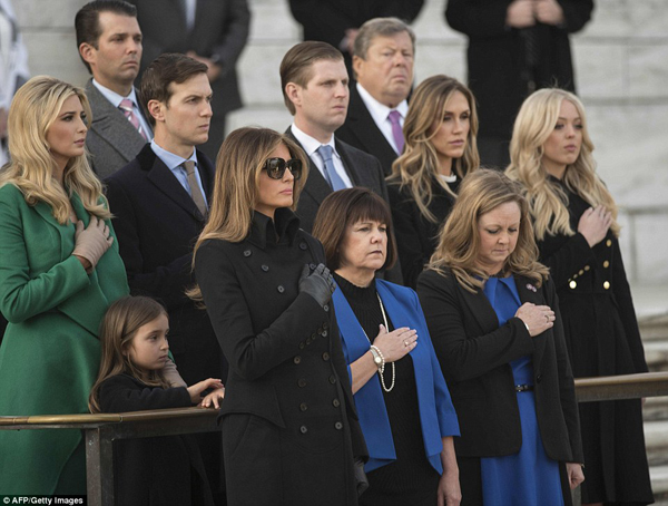 Ivanka Trump and Jared Kushner attended with their oldest daughter Arabella; Donald Trump Jr and wife Vanessa attended with son Donald III and daughter Kai; Eric Trump attended with wife Lara; and Tiffany Trump  Read more: http://www.dailymail.co.uk/news/article-4136982/Donald-Trump-departs-New-York-City-inauguration.html#ixzz4WGK9jO5U  Follow us: @MailOnline on Twitter | DailyMail on Facebook  Read more: http://www.dailymail.co.uk/news/article-4136982/Donald-Trump-departs-New-York-City-inauguration.html#ixzz4WGK5ejFC  Follow us: @MailOnline on Twitter | DailyMail on Facebook  Read more: http://www.dailymail.co.uk/news/article-4136982/Donald-Trump-departs-New-York-City-inauguration.html#ixzz4WGK0Riht  Follow us: @MailOnline on Twitter | DailyMail on Facebook