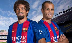 Rivaldo hóa trang gây bất ngờ cho fan Barca