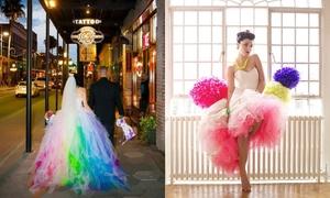 Cô dâu cá tính với váy cưới hoạ tiết pop art