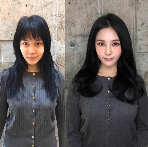 Cô gái này trông như một người khác sau khi trang điểm và thay đổi kiểu tóc.