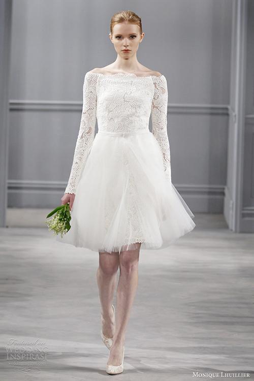 [Caption]Váy cưới ngắn là gợi ý hoàn hảo cho những cô dâu có vóc người nhỏ bé.