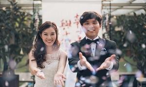 Cô dâu 8X khâu backdrop trong đám cưới 'tự tay làm hết'
