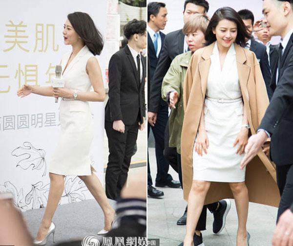 Cao Viên Viên đi giày cao gót, mặc đồ bó giữa tin đồn bầu bí. Dù vậy, một số nguồn tin cho hay diễn viên này quả thực đã có tin vui.