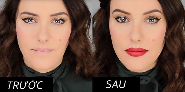 Làn môi khác biệt trước và sau khi thoa son.