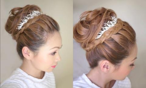 3 phút tạo kiểu tóc cô dâu từ vòng cổ điệu đà
