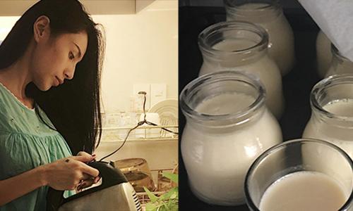 Thủy Tiên tự tay làm sữa chua trứng cho con gái