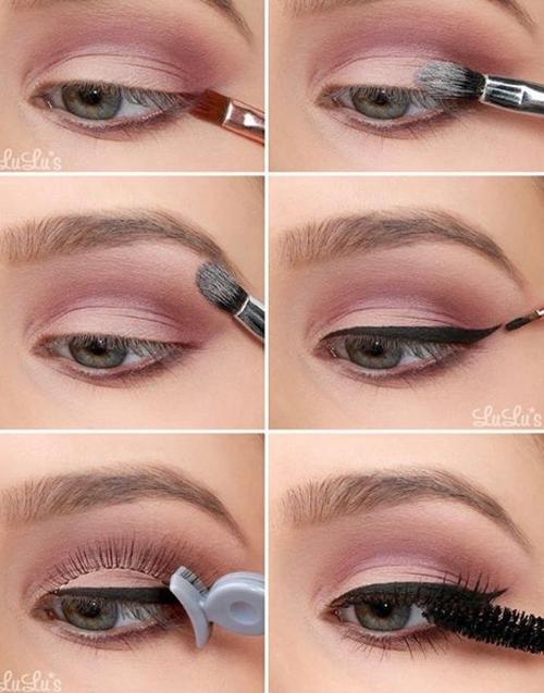 Chiêu 1: Dùng hai màu phấn mắt cùng tone, thoa màu nhạt hơn ở sát mí mắt rồi thoa màu đậm hơn lên trên để thêm chiều sâu, giúp mắt trông to hơn.