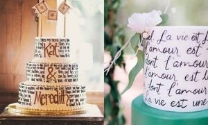 15 chiếc bánh cưới độc đáo với hoạ tiết chữ viết tay