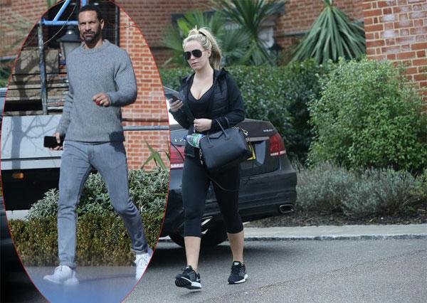 Rio Ferdinand rời nhà Kate Wright hôm 9/3, sau đó người đẹp cũng ra khỏi nhà. Ảnh: Sun.
