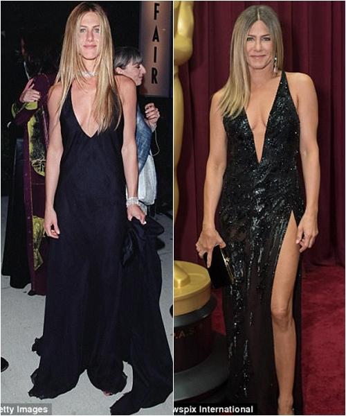 Jennifer Aniston năm 2000 (ảnh trái) và năm 2017 (ảnh phải).