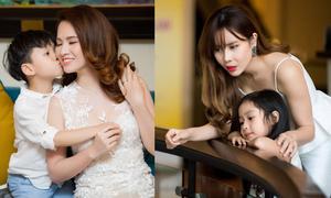 Đan Lê, Lưu Hương Giang cùng khoe con trong event