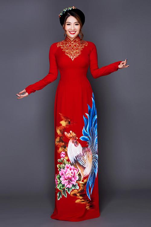 [Caption]Nếu cô muốn tạo cảm giác cao hơn, nên chọn kiểu áo dài có họa tiết vẽ ở bên eo, vừa tôn vóc dáng, vừa khiến cô dâu thanh mảnh.
