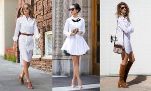 Đủ cách diện đẹp váy sơ mi trắng