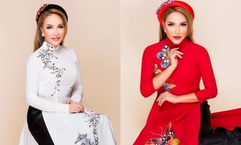 Ca sĩ Thanh Hà gợi ý áo dài in hoa to bản cho mẹ uyên ương