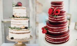 Bánh cưới kiểu 'trần trụi' cho đám cưới rustic