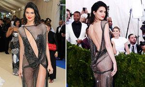 Kendall Jenner gây sốc trên thảm đỏ với váy xuyên thấu