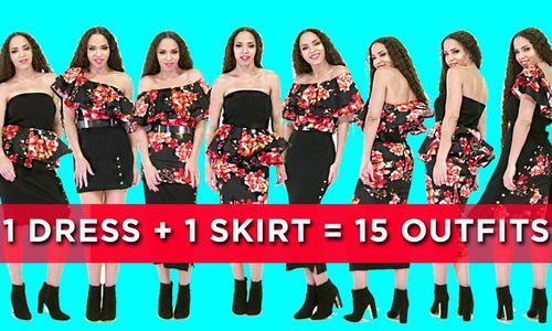 15 set đồ kết hợp từ 1 bộ đầm và 1 chân váy