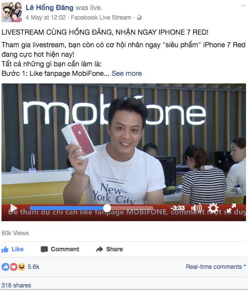 Livestream của Hồng Đăng đã thu hút hàng chục ngàn lượt xem và like