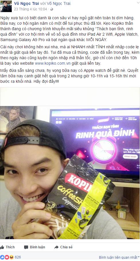 Diễn viên, MC Ngọc Trai quyết mua cả thùng kẹo cùng bí kíp luyện ngón nhập mã thần tốc để có thêm cơ hội giành giải thưởng từ chương trình.