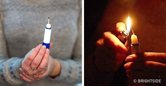 Nếu cần ánh sáng mà không có nến, hãy cắm que diêm lên thỏi son dưỡng.