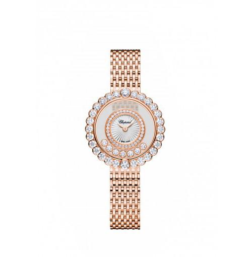 Mẫu Happy Diamond Icon là show diễn ấn tượng của ánh sáng và sự tự do với những viên kim cương chuyển động trên bề mặt trong suốt. Toàn bộ đồng hồ được chế tác bằng vàng hồng 18k, mặt trước được làm bằng ngọc trai chạm họa tiết guilloche. Viền ngoài và trong được nạm 2,55 carats kim cương cắt kiểu tròn.