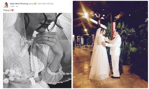 Fan nghi Nhã Phương sắp kết hôn khi đăng ảnh nhẫn cưới, mặc váy cô dâu