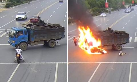 Chàng trai biến thành quả cầu lửa sau khi đâm vào xe tải