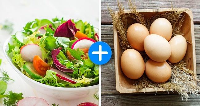 Trứng rất giàu carotene, một tiền chất của vitamin A cũng là nguyên tố giúp tạo màu trong rau xanh. Khi kết hợp trứng với rau xanh, hàm lượng carotene được nhân đôi, nhờ đó, quá trình giảm cân diễn ra nhanh hơn.