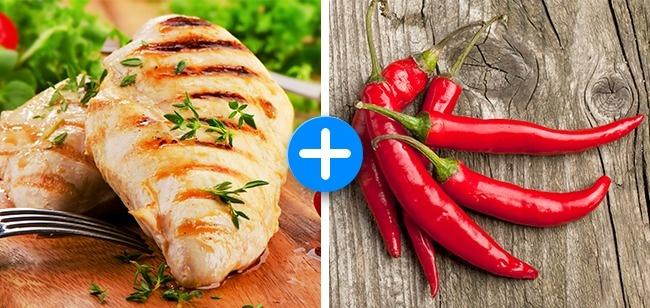 Ớt giúp đốt cháy calories nhanh hơn, thúc đẩy quá trình chuyển hoá thức ăn thành năng lượng. Kết hợp với thịt gà giàu protein, quá trình chuyển hoá sẽ diễn ra mạnh mẽ hơn, giảm thiểu tích tụ mỡ thừa dưới da.