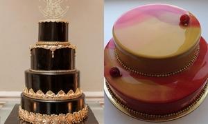 Bánh cưới 'tráng gương' bóng loáng cho bữa tiệc sang trọng