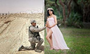 Ảnh ghép người chồng quân nhân sờ bụng bầu của vợ kể câu chuyện đau lòng