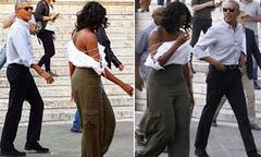 Bà Michelle Obama mặc áo trễ nải đi nghỉ ở Italy cùng chồng