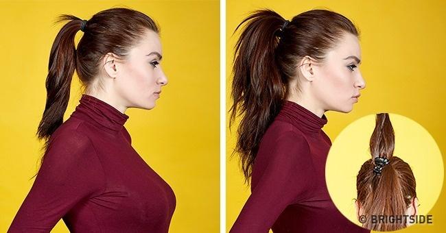Dùng kẹp càng cua cặp vào giữa đuôi tóc sẽ giúp tóc trông dày hơn.
