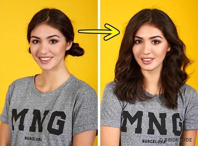 Vặn xoắn tóc hai bên trước khi đi ngủ để sáng thức dậy với mái tóc xoăn bồng bềnh.