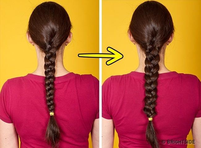 Khi tết tóc, hãy nới lỏng múi tết để đuôi tóc trông to bản.