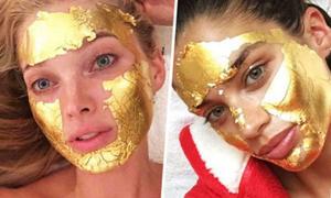 Thiên thần Victoria's Secret làm đẹp với mặt nạ vàng 24K