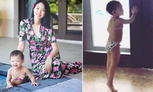 Con gái Hoa hậu Trương Tử Lâm chân dài giống mẹ