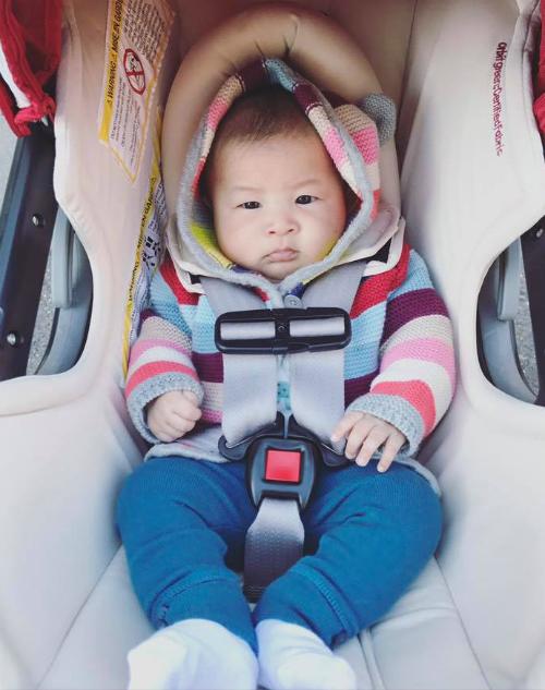 Con gái Lam Trường tròn 3 tháng tuổi. Yến Phương chia sẻ: Thời tiết chưa ấm nên k cho con mặc đầm đc, nên chịu khó tomboy tí đi nhe con, ấm áp là được. Hôm nay bé con của ba mẹ được 3 tháng tuổi rồi nè.