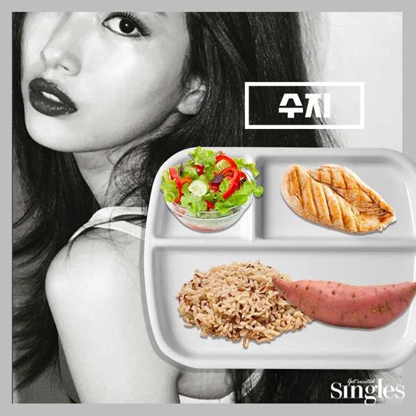 Suzy ăn kiêng bằng cách ăn sáng với một lát thịt gà và 1 củ khoai lang.