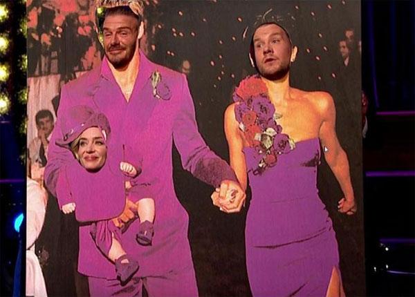 Becks cùng MC James Corden và người đẹp Emily Blunt hài hước hóa thân vào ảnh cưới.